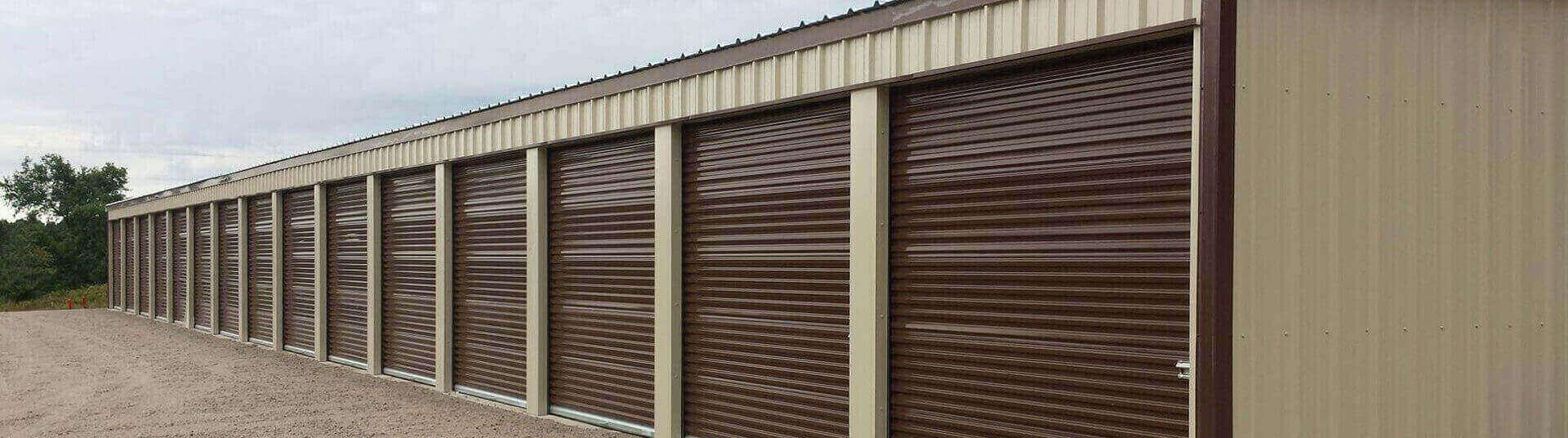 mini storage construction brown doors