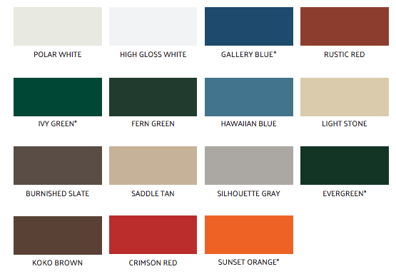 Standard Colors Available