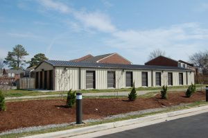 tan storage building
